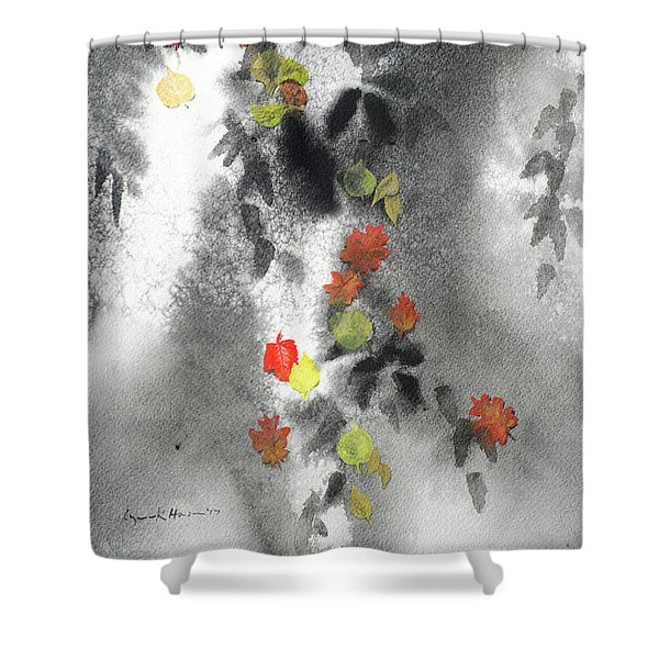 Tree Shadows And Fall Leaves Shower Curtain