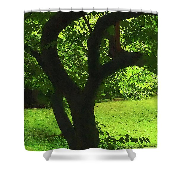 Tree Trunk Green Shower Curtain
