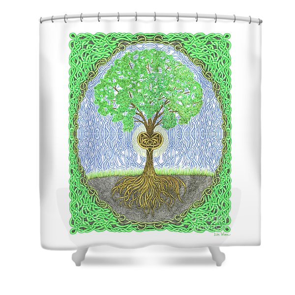 Tree With Heart And Sun Shower Curtain