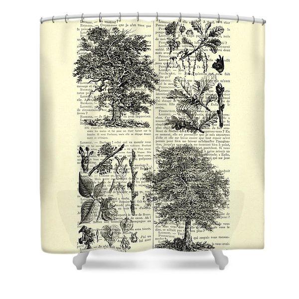 Trees Black And White Illustration Shower Curtain