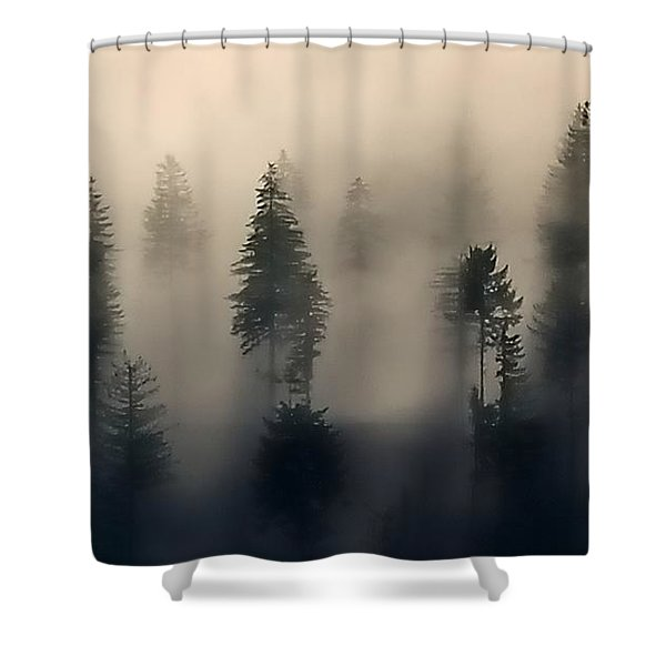 Trees In The Fog Shower Curtain
