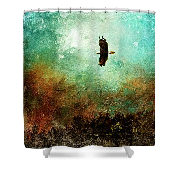 Treetop Eagle Flight Shower Curtain