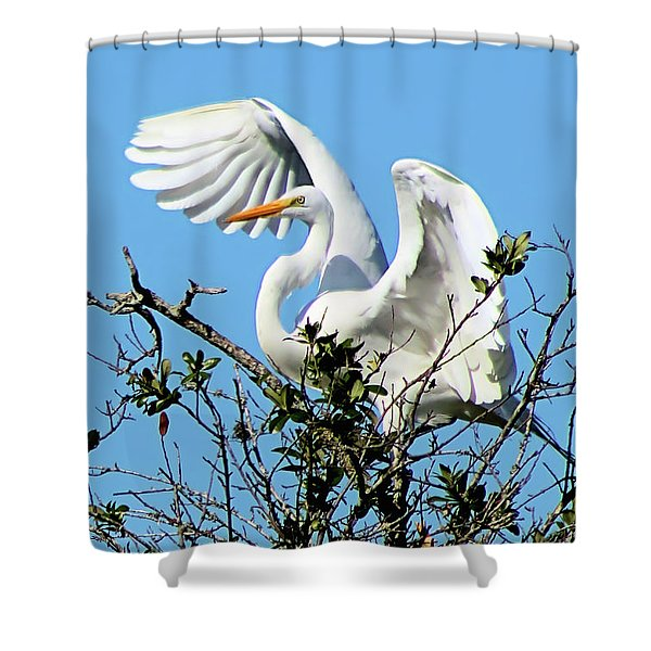 Treetop Egret Shower Curtain