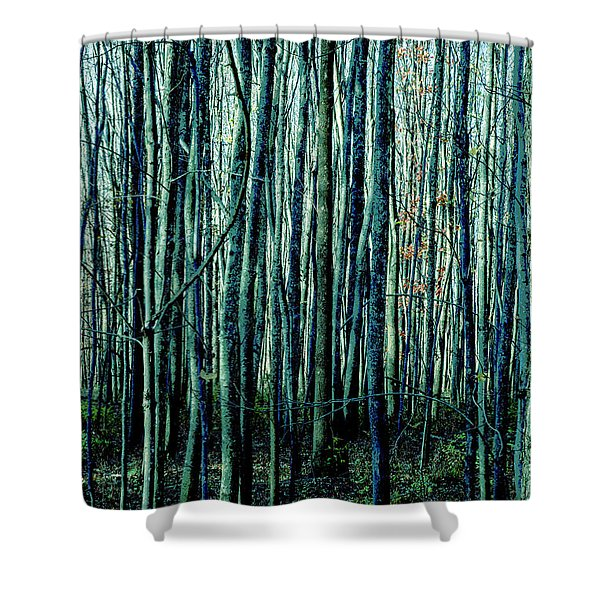 Treez Cyan Shower Curtain