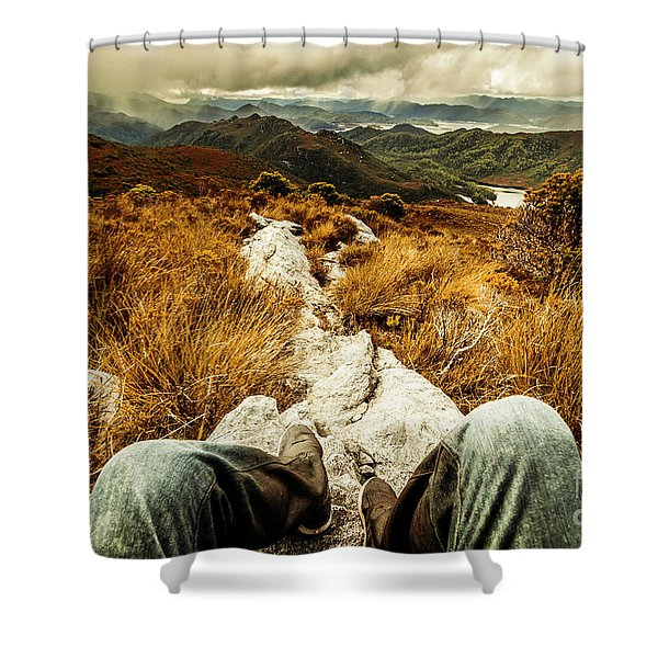 Trekking Tasmanian Mountains Shower Curtain