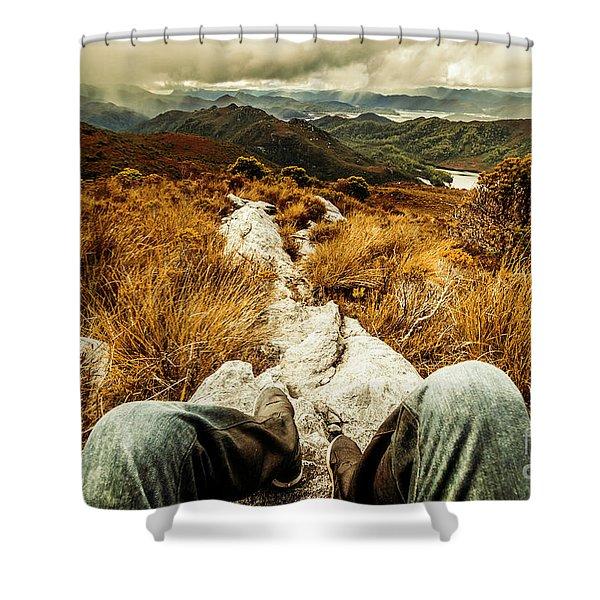 Trekking Tasmanian Mountains Shower Curtain