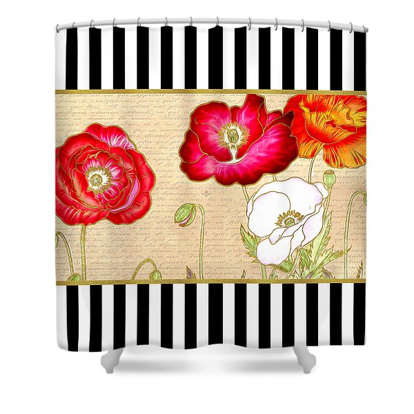 Trendy Red Poppy Floral Black And White Stripes Shower Curtain