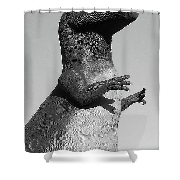 T-rex Black And White Shower Curtain