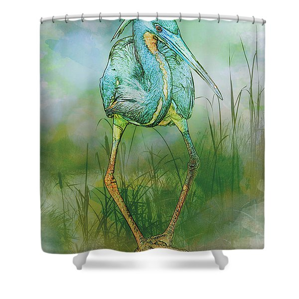 Tri-colored Heron Balancing Act - Colorized Shower Curtain