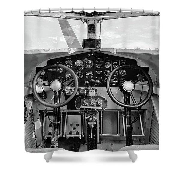 Tri-motor Cockpit - 2017 Christopher Buff, Www.aviationbuff.com Shower Curtain
