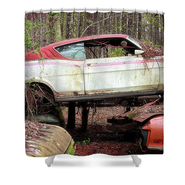 Tri Stack Old Car Image Art Shower Curtain