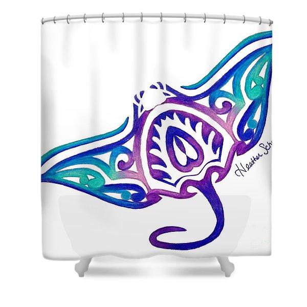 Tribal Manta Ray Shower Curtain