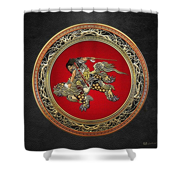 Tribute To Hokusai - Shoki Riding Lion  Shower Curtain