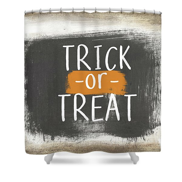 Trick Or Treat Sign- Art By Linda Woods Shower Curtain