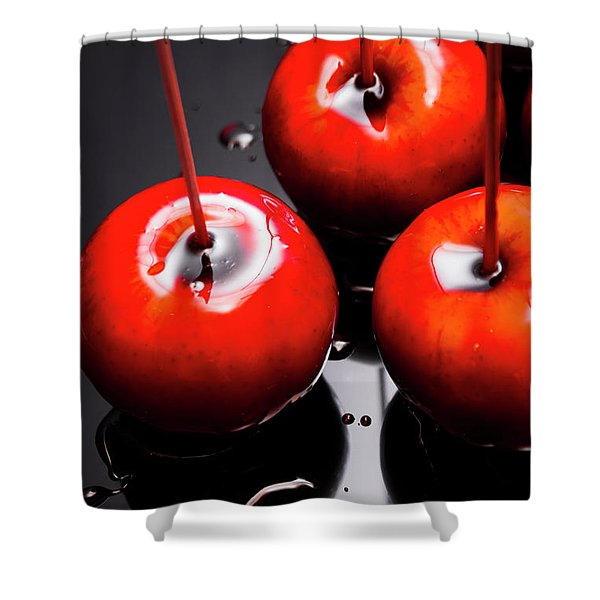 Trio Of Bright Red Home Made Candy Apples Shower Curtain
