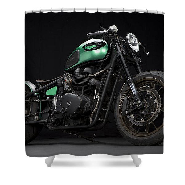 Triumph Green Bobber Shower Curtain