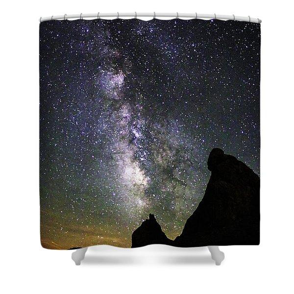 Trona Pinnacles Milky Way Shower Curtain