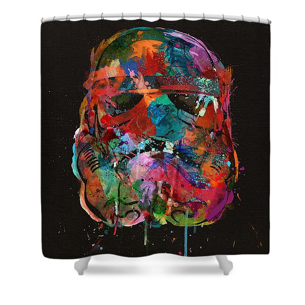 Trooper In A Storm Of Color Shower Curtain