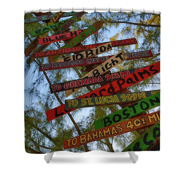 Tropical Directions Shower Curtain