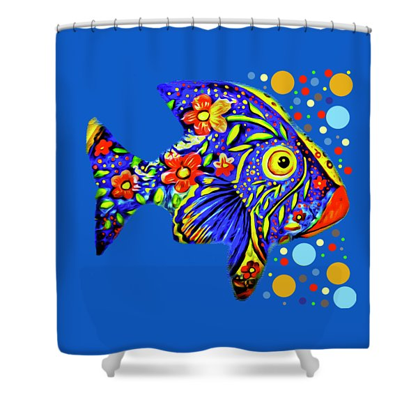 Shower Curtain featuring the digital art  Tropical Fish by Eleni Mac Synodinos