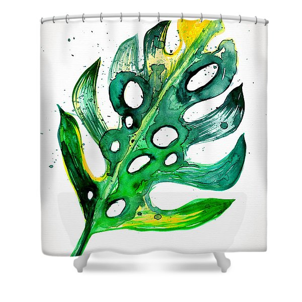Tropical Greenery - Philodendron Leaf Shower Curtain