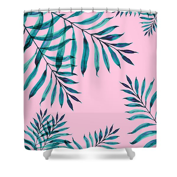 Tropical Greenery On Pink Shower Curtain