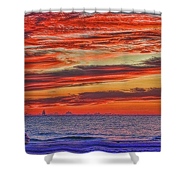 Tropical Gulf Nights Shower Curtain
