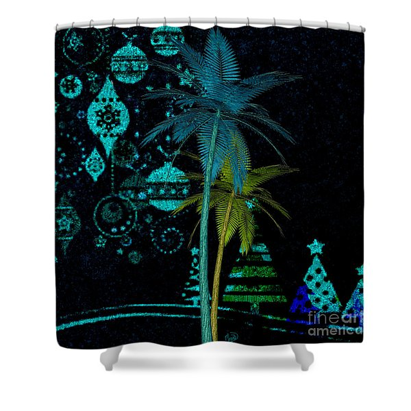 Tropical Holiday Blue Shower Curtain