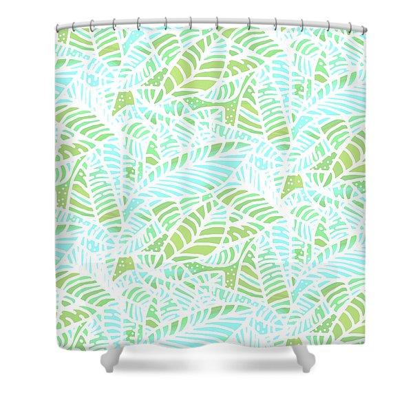 Tropical Lagoon Leaves Shower Curtain