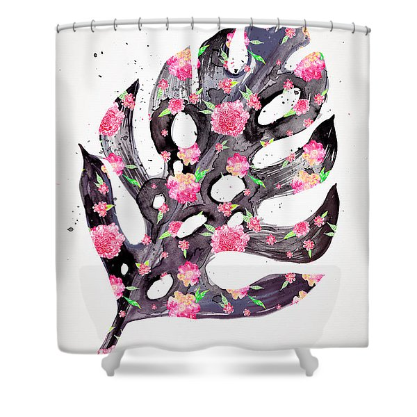 Tropical Leaf - Philodendron Black Pink Shower Curtain