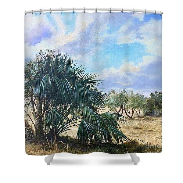 Tropical Orange Grove Shower Curtain