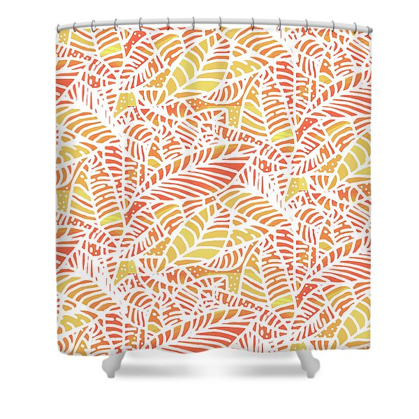 Tropical Sunset Leaves Shower Curtain