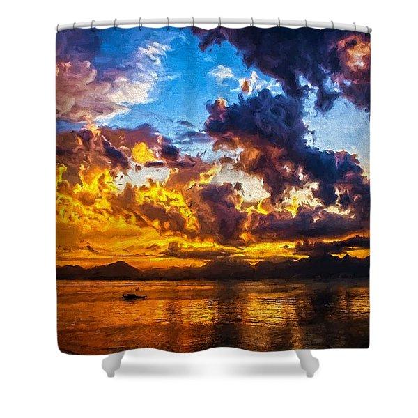 Tropical Twilight I Shower Curtain