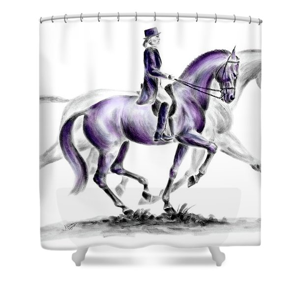 Trot On - Dressage Horse Print Color Tinted Shower Curtain