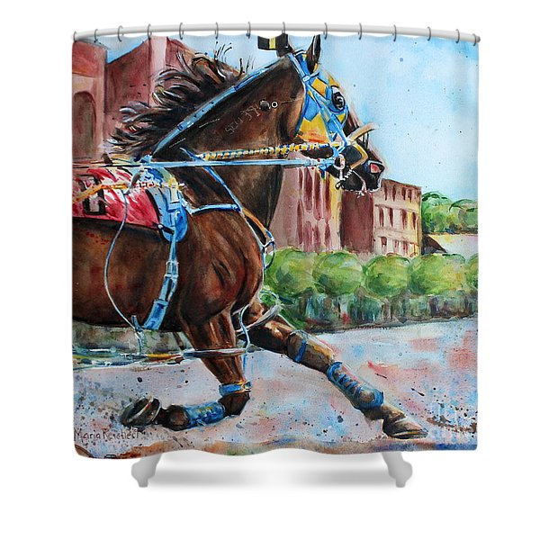 trotter standardbred Horse at the Little Brown Jug Shower Curtain