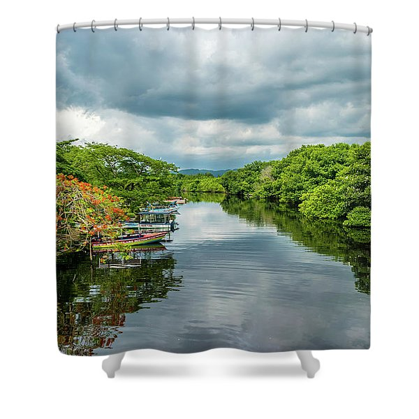 Cloudy Skies Over The River Shower Curtain