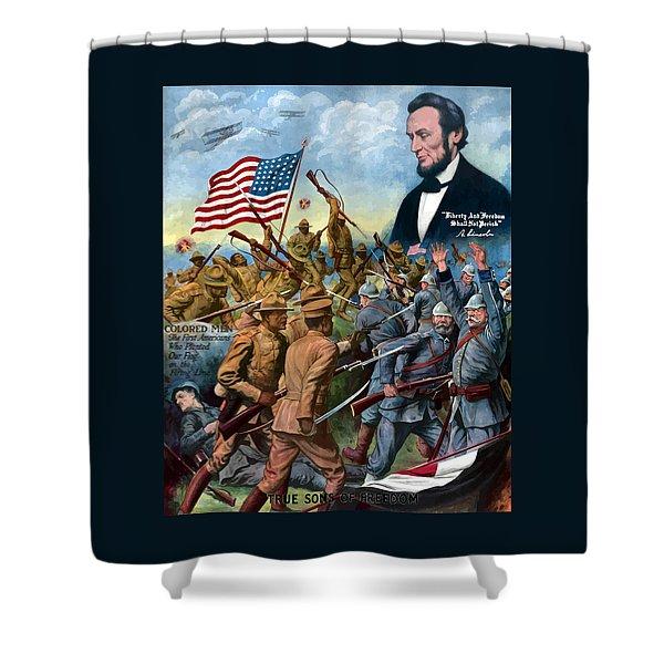 True Sons Of Freedom -- Ww1 Propaganda Shower Curtain