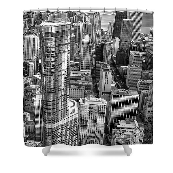 Trump Tower And John Hancock Aerial Black And White Shower Curtain