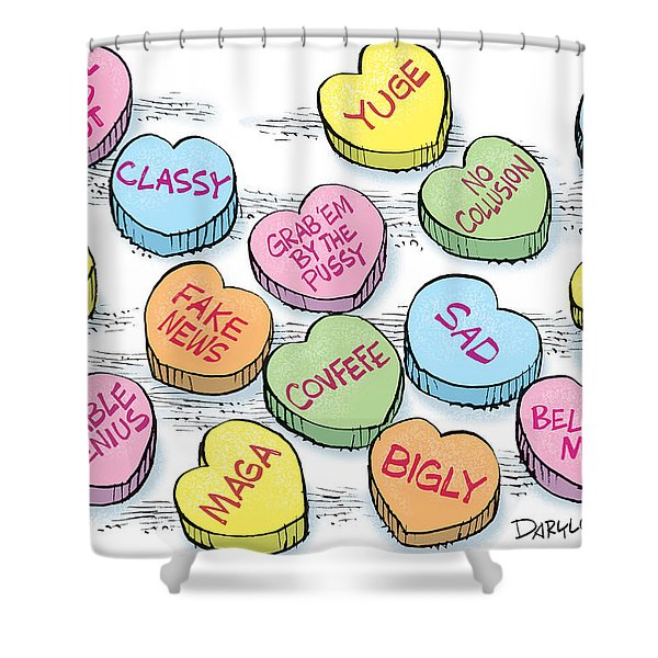 Trump Valentines Candy Uncensored Shower Curtain