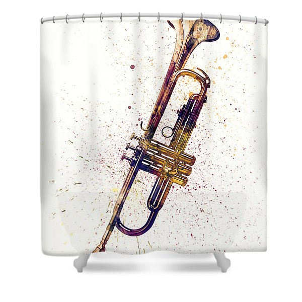 Trumpet Abstract Watercolor Shower Curtain