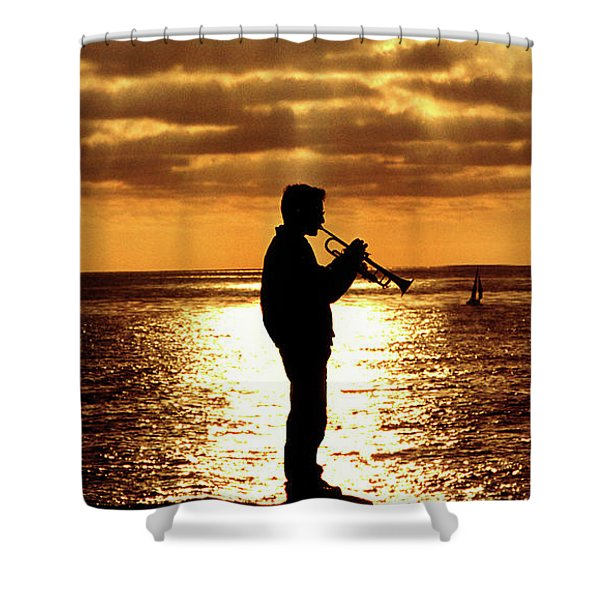 Trumpet Player Shower Curtain