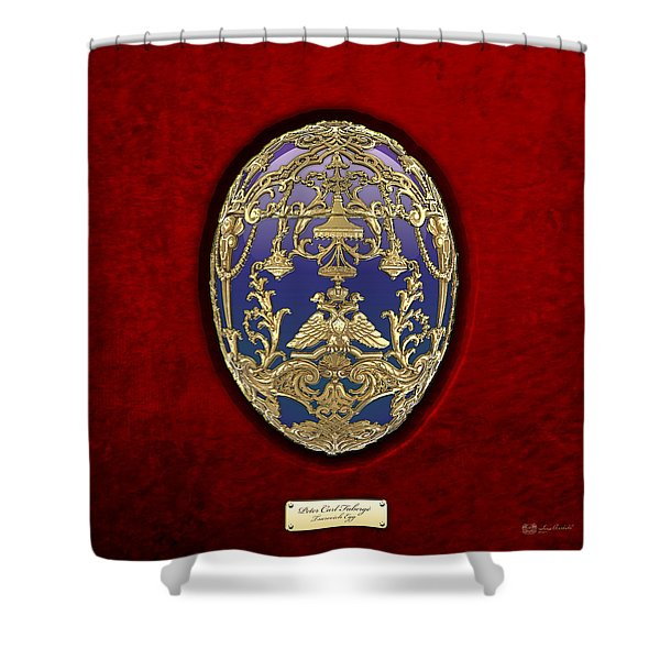 Tsarevich Faberge Egg On Red Velvet Shower Curtain