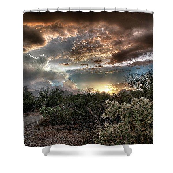 Tucson Mountain Sunset Shower Curtain