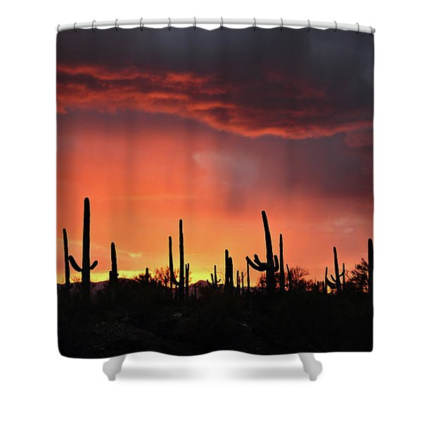 Tucson Sunset With Rain Shower Curtain