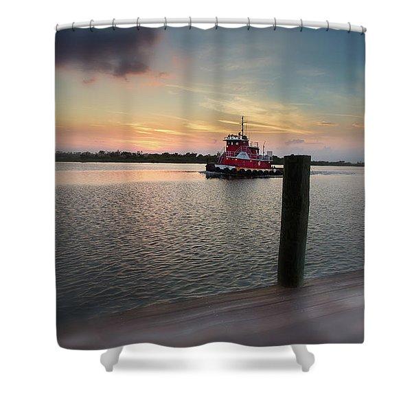 Tug Boat Sunset Shower Curtain