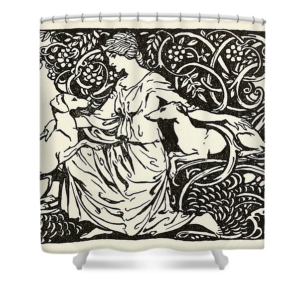 Tuiren With Bran And Sceolan From The Birth Of Bran Shower Curtain