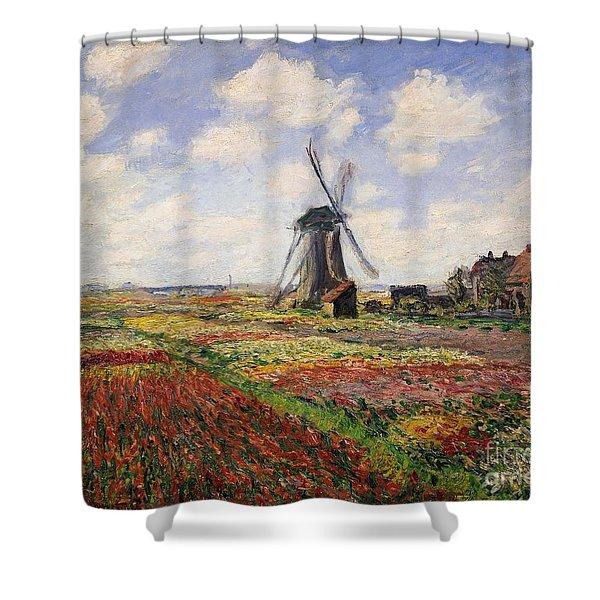 Tulip Fields With The Rijnsburg Windmill Shower Curtain