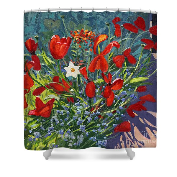 Tulips By The Gate Shower Curtain
