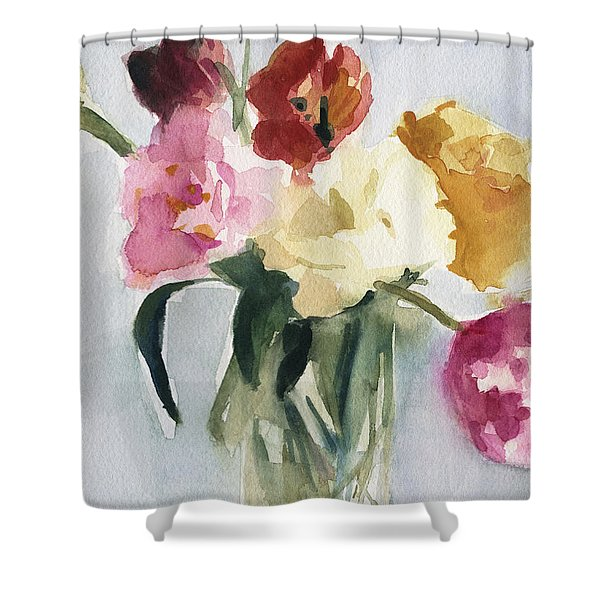 Tulips In My Studio Shower Curtain by Beverly Brown