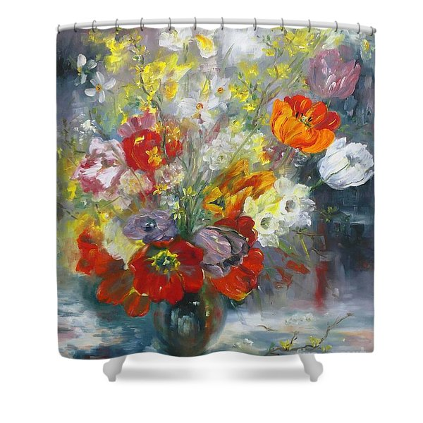 Tulips, Narcissus And Forsythia Shower Curtain